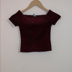 Urban Outfitters: maroon velvet cropped top